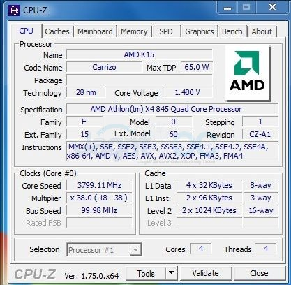 Athlon 'Carrizo' X4 845 dibekali 4-core CPU dengan core excavator yang beroperasi pada 3.5 Ghz, dan bisa meningkat ke 3.8Ghz dengan teknologi Turbo Core.