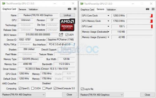 Clock Radeon RX 460 Nitro : 1250Mhz