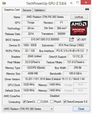 r9 380X GPUz