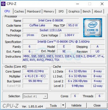 8600K DEF CPUZ