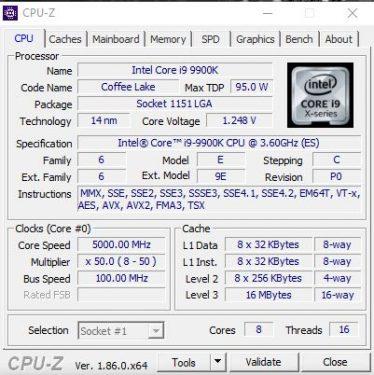 result 5Ghz 9900K
