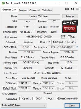 RX550 GPUZ