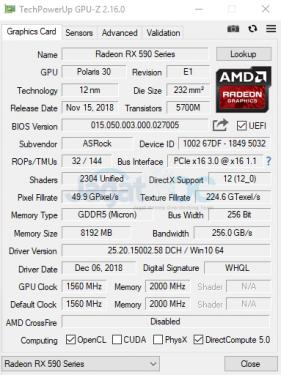 Def RX 590 GPUz