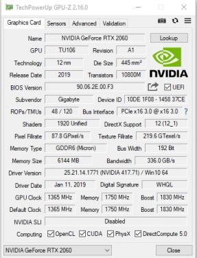 RTX 2060 GPUZ GBT 1