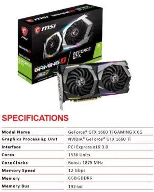 GTX1660TI 0 SPECS MSI