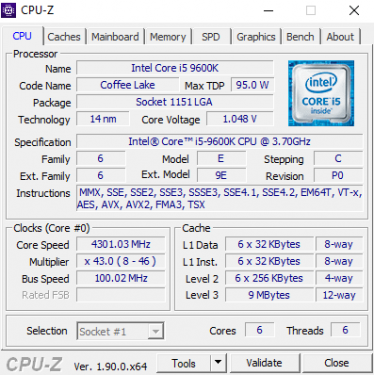 CPUz 9600K