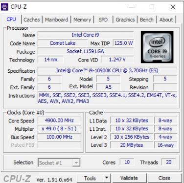 10900K CPUZ
