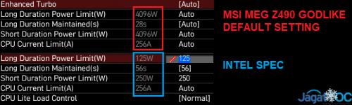 RESULT MSI MEG Z490 GODLIKE 1 POWERs